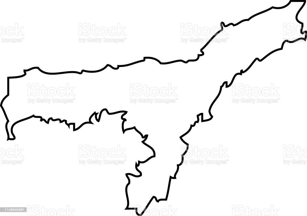 Carte Inde Assam.Assam Carte De La Region Inde Vecteurs Libres De Droits Et