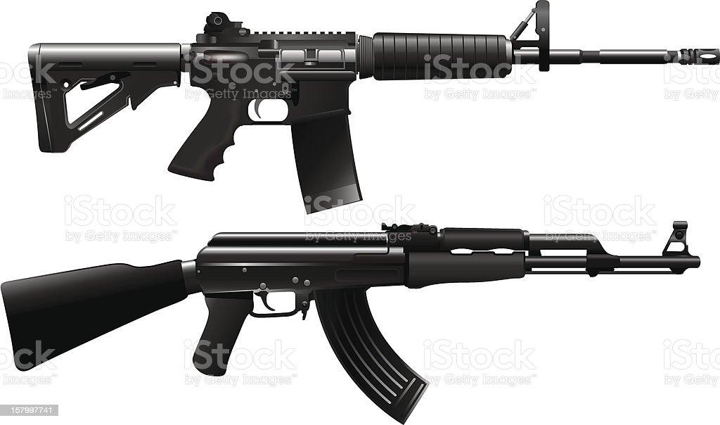 Assault rifle weapon vector art illustration