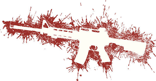 Assault Rifle with Blood Stains Assault Rifle with Blood Stains ar 15 stock illustrations