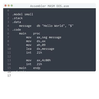 Assembler MASM DOS language Hello World program sample in editor window illustration