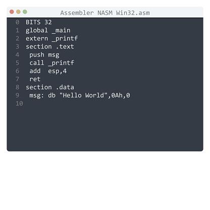 Assembler NASM Win32 language Hello World program sample in editor window illustration