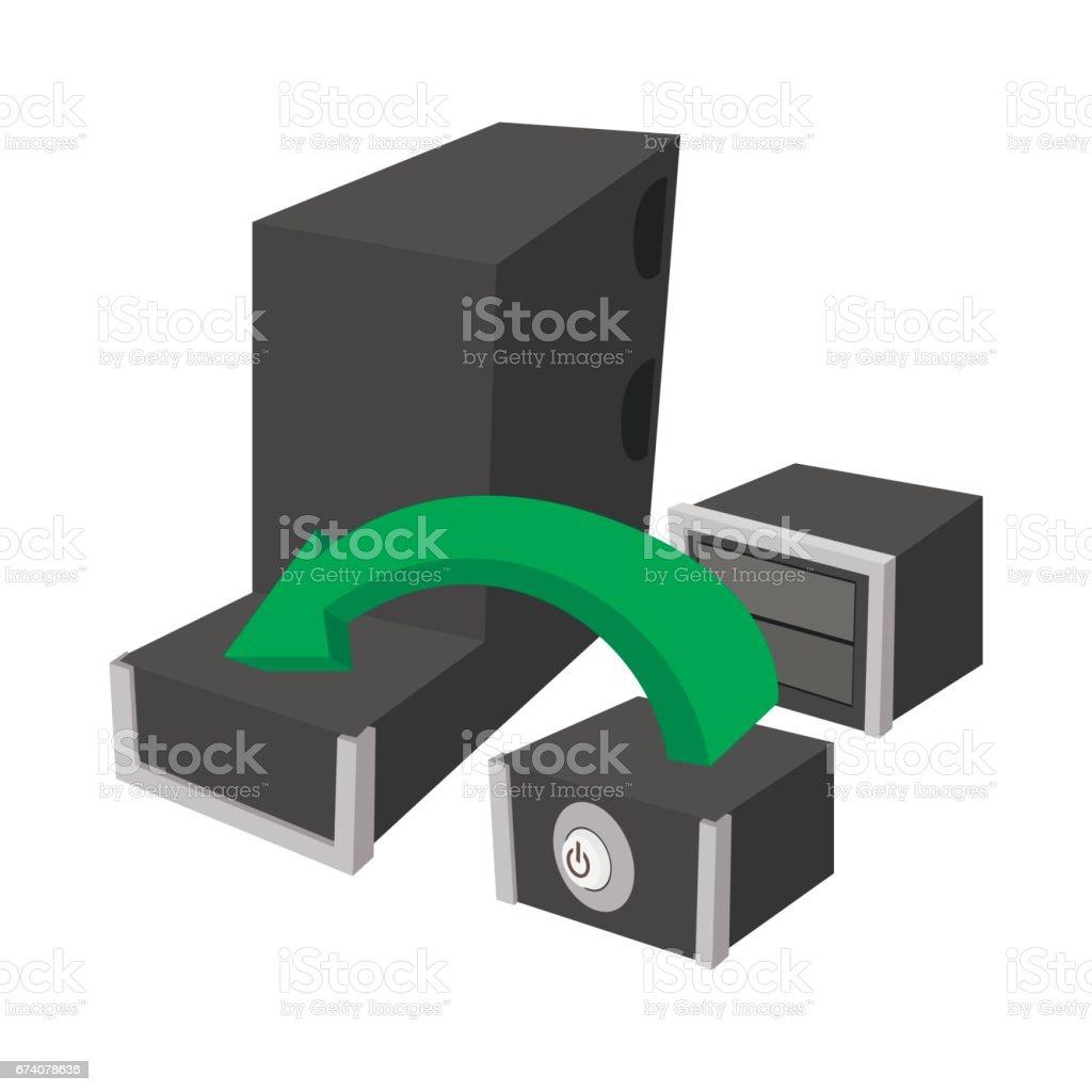 Montage d'une nouvelle icône de PC, de style dessin animé montage dune nouvelle icône de pc de style dessin animé – cliparts vectoriels et plus d'images de carré - composition libre de droits