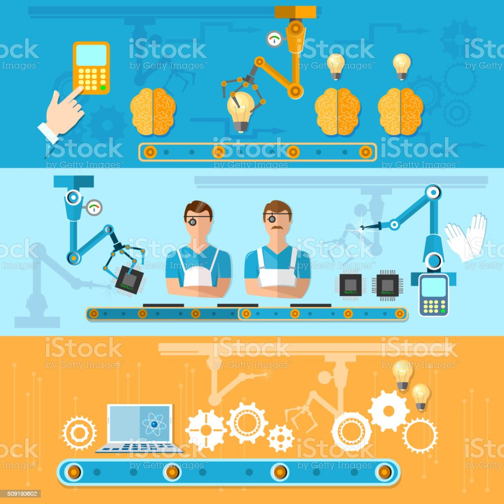 Assembly and production of computers conveyor belt banners vector art illustration