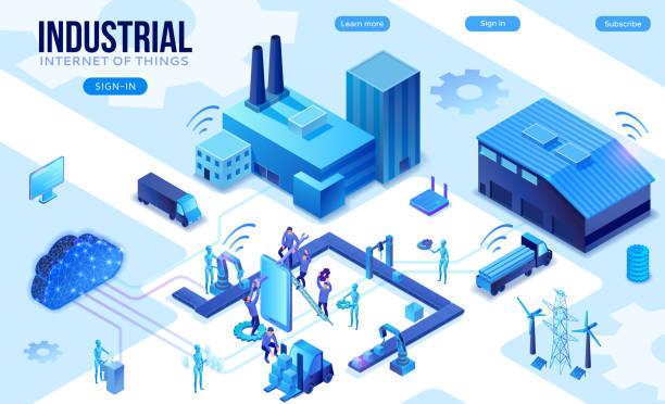 Montagelinie isometrische Vektor 3D-Illustration mit Menschen und Robotern, neonblauefabrikKonzept, Anlage mit Förderband und Arbeiter, die Paket auf Gabelstapler setzen – Vektorgrafik