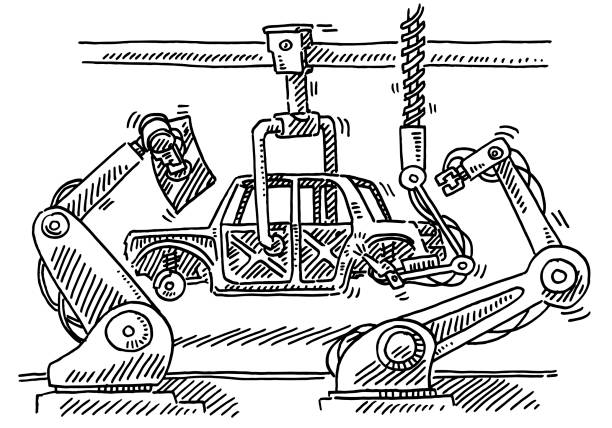 Assembly Line Robots Car Production Drawing Hand-drawn vector drawing of an Assembly Line with Industrial Robots for Car Production. Black-and-White sketch on a transparent background (.eps-file). Included files are EPS (v10) and Hi-Res JPG. transportation stock illustrations