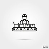 Assembly line vector icon.