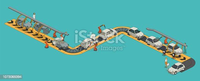 car factory assembly line- isometric