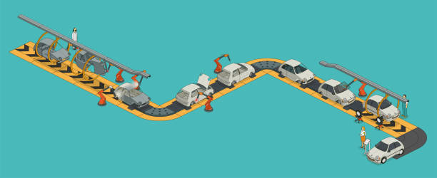 assembly line car factory assembly line. 26.57° isometric projection automobile industry stock illustrations