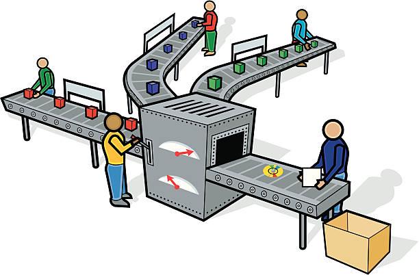 Assembly Line vector art illustration
