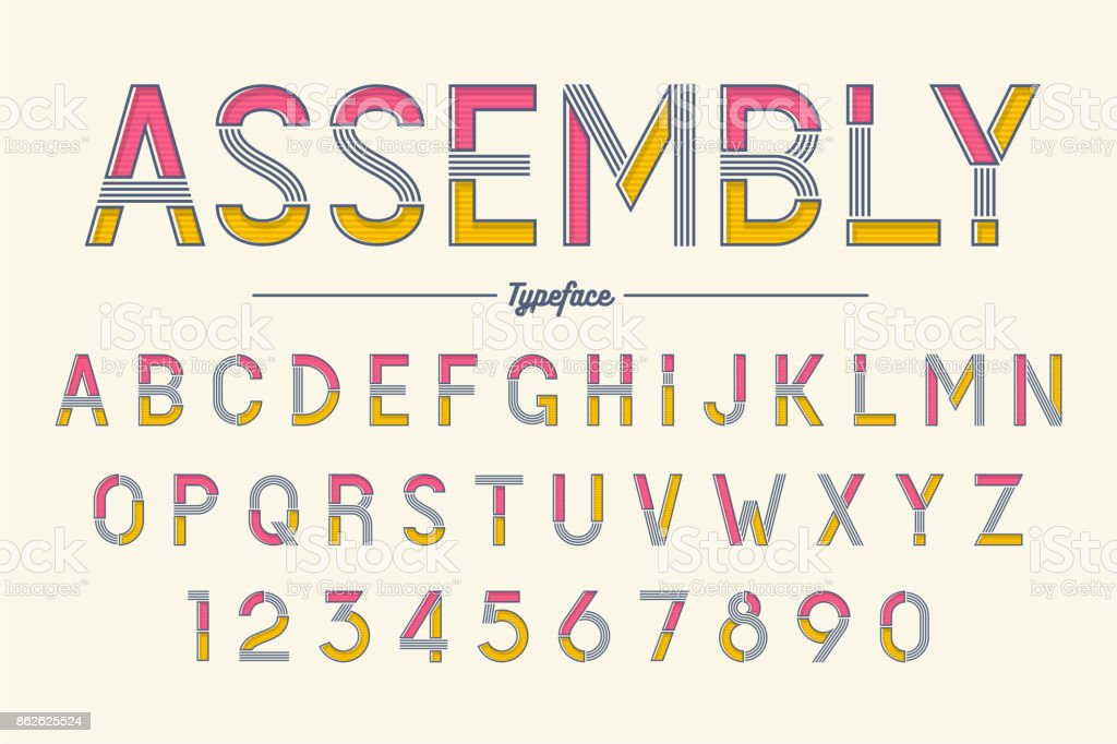 Assembly vector decorative font design, alphabet, typeface, typo
