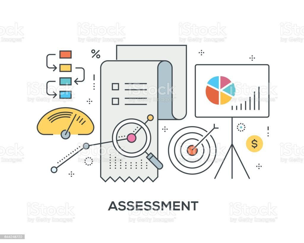 Assessment Concept with icons vector art illustration