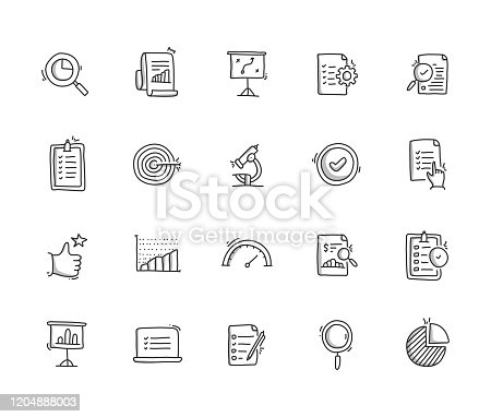 Assessment Hand Draw Line Icon Set