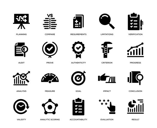 assessment icon set - evaluation stock illustrations