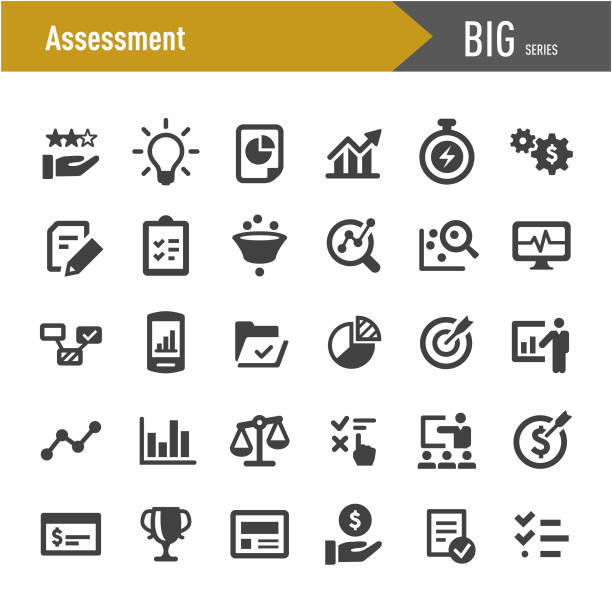 assessment icons - big series - business stock illustrations