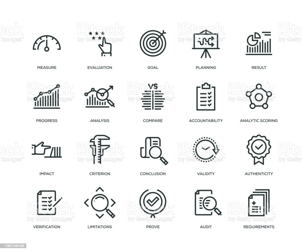 Evaluación los iconos - serie - ilustración de arte vectorial