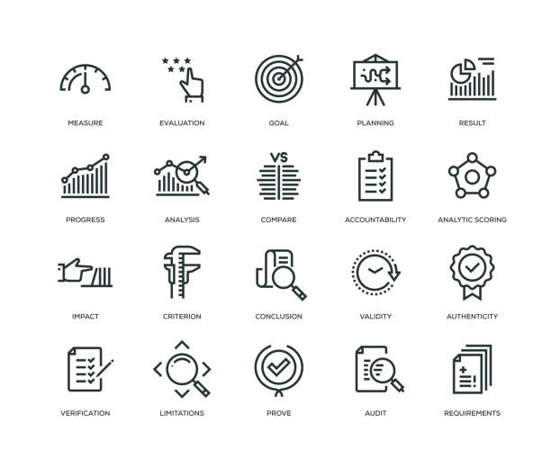 assessment icons - line series - evaluation stock illustrations