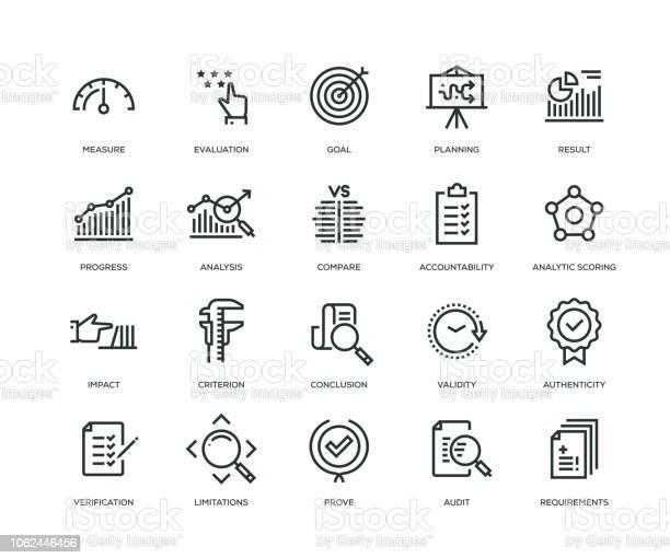 Иконки Оценки Серия Линии — стоковая векторная графика и другие изображения на тему Анализировать