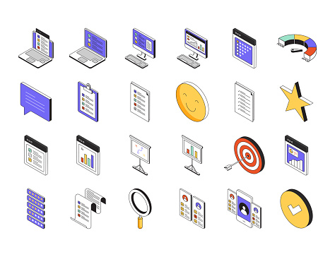 Assessment Isometric Icon Set and Three Dimensional Design
