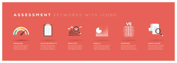 Palabras clave evaluación con iconos - ilustración de arte vectorial