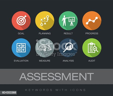 Assessment chart with keywords and icons. Flat design with long shadows