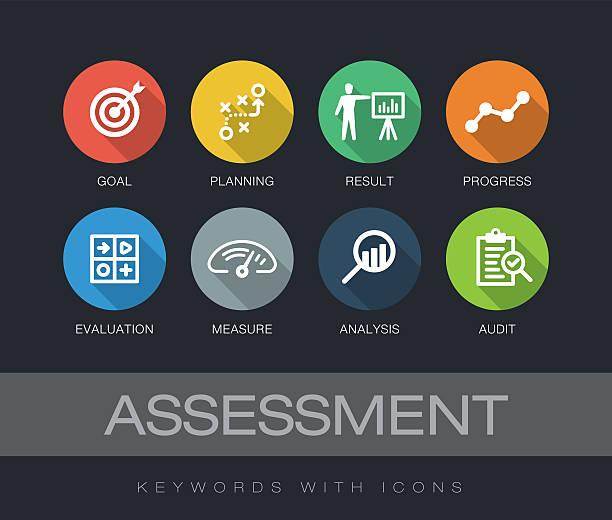 Assessment keywords with icons - ilustración de arte vectorial