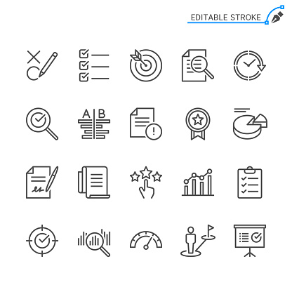 Assessment line icons. Editable stroke. Pixel perfect.