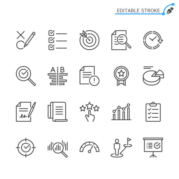 assessment line icons. editable stroke. pixel perfect. - evaluation stock illustrations