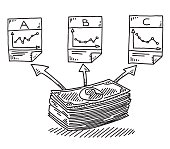 Hand-drawn vector drawing of an Infographics for Asset Allocation of a Finance Investment, a stack of banknotes will be allocated to three different investments to reduce the risk. Black-and-White sketch on a transparent background (.eps-file). Included files are EPS (v10) and Hi-Res JPG.