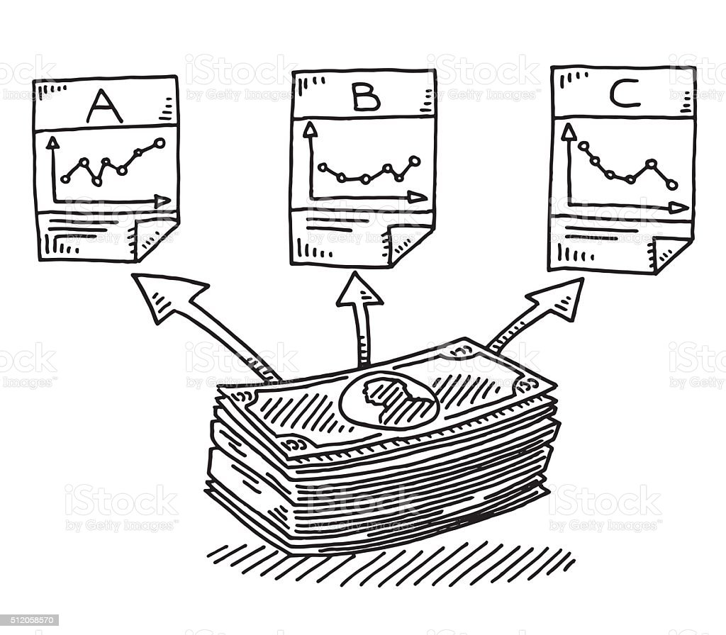 Asset Allocation Finance Investment Drawing vector art illustration