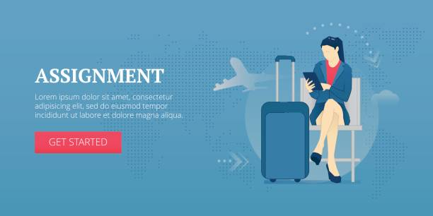 assignment web banner - business travel stock illustrations, clip art, cartoons, & icons