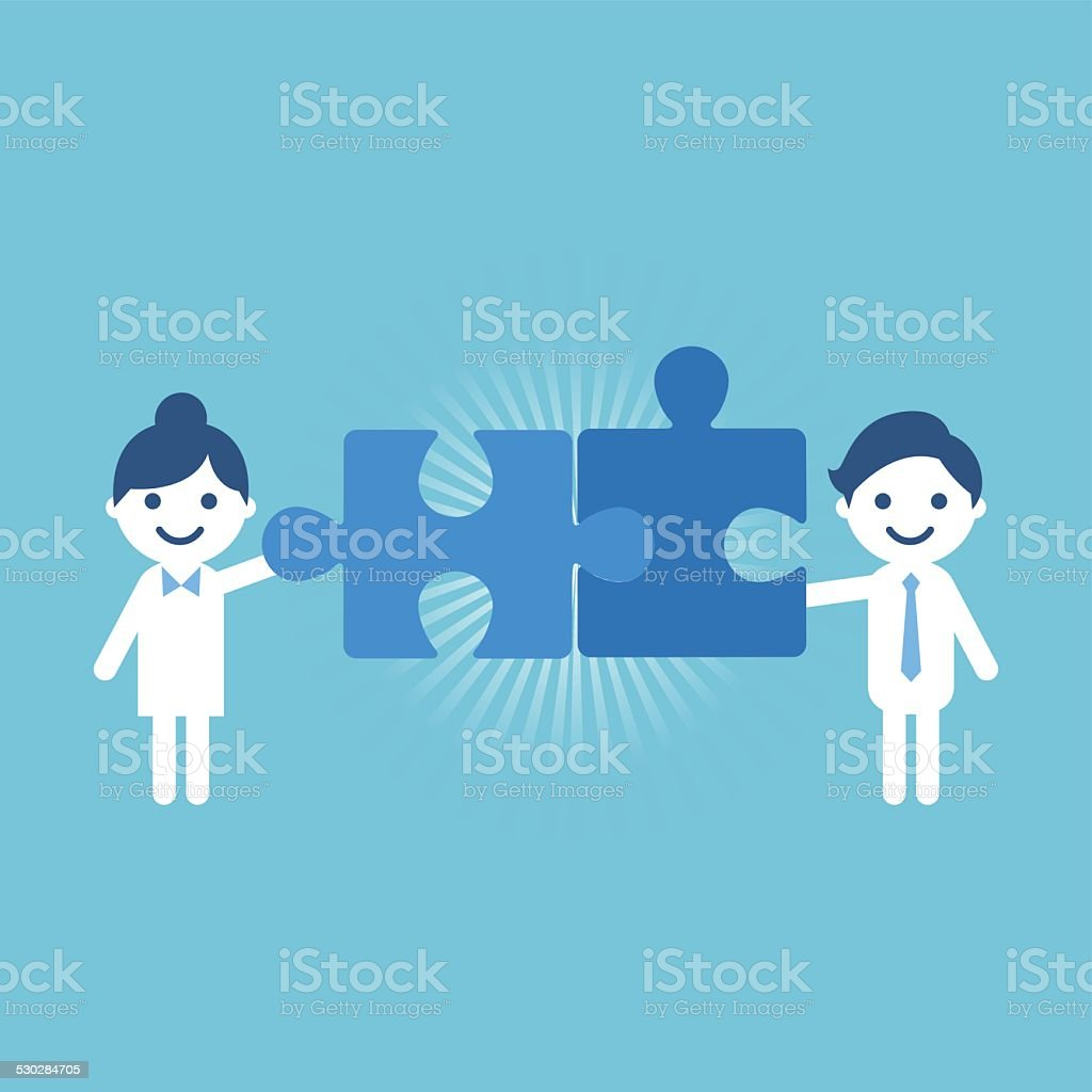 Assistance teamwork vector art illustration