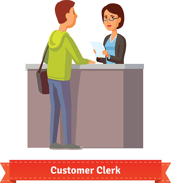 assistant clerk working with customer - receptionist stock illustrations, clip art, cartoons, & icons
