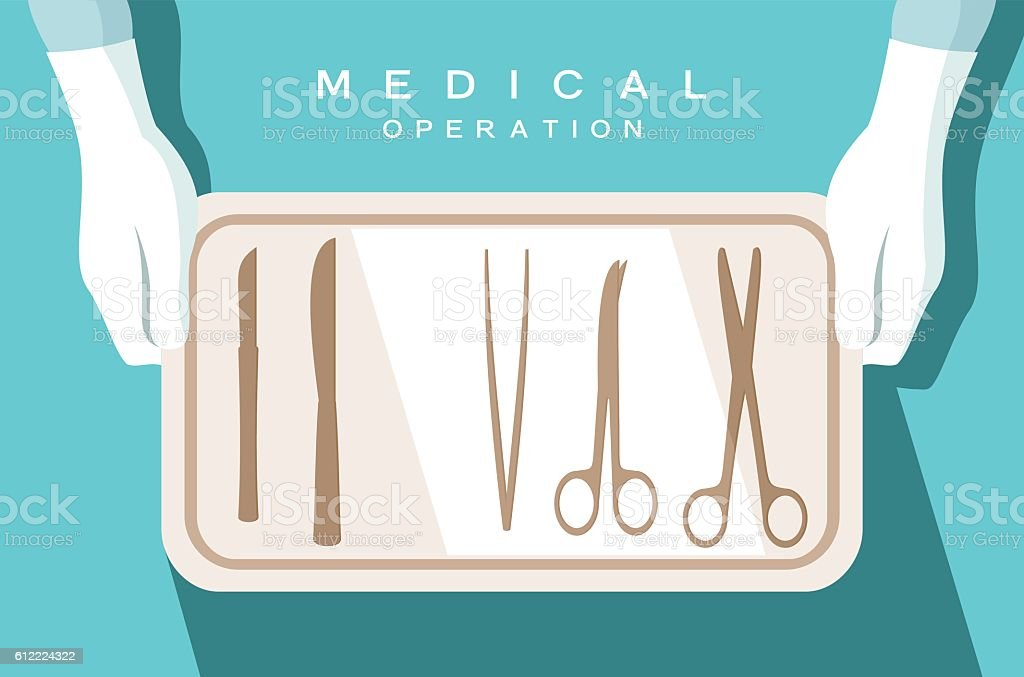 Assistant of the surgeon holds surgical instruments vector art illustration