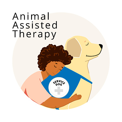 Assisted Animal Therapy Poster with Woman Hugging Labrador Vector Illustration