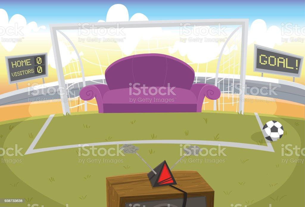 Assistindo futebol - ilustração de arte em vetor