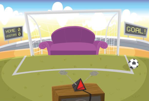 Assistindo futebol Sofá e televisão estilo retrô, posicionados dentro de um campo de futebol man cave couch stock illustrations