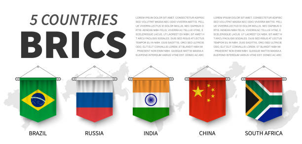 BRICS . Association of 5 countries . 3D realistic pennant hanging design . White isolated background and country map . Vector . vector art illustration