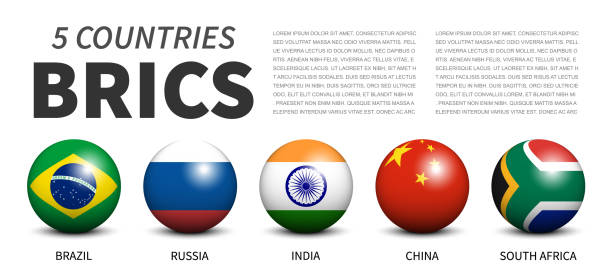 BRICS . association of 5 countries . Banner 3D sphere ball design . White isolated background . Vector . vector art illustration
