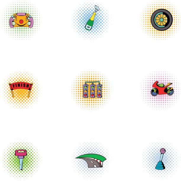 verband der rennfahrer icons set, pop-art stil - schlüsselfertig stock-grafiken, -clipart, -cartoons und -symbole