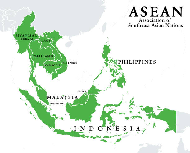 ASEAN, Association of Southeast Asian Nations, member states, infographic vector art illustration