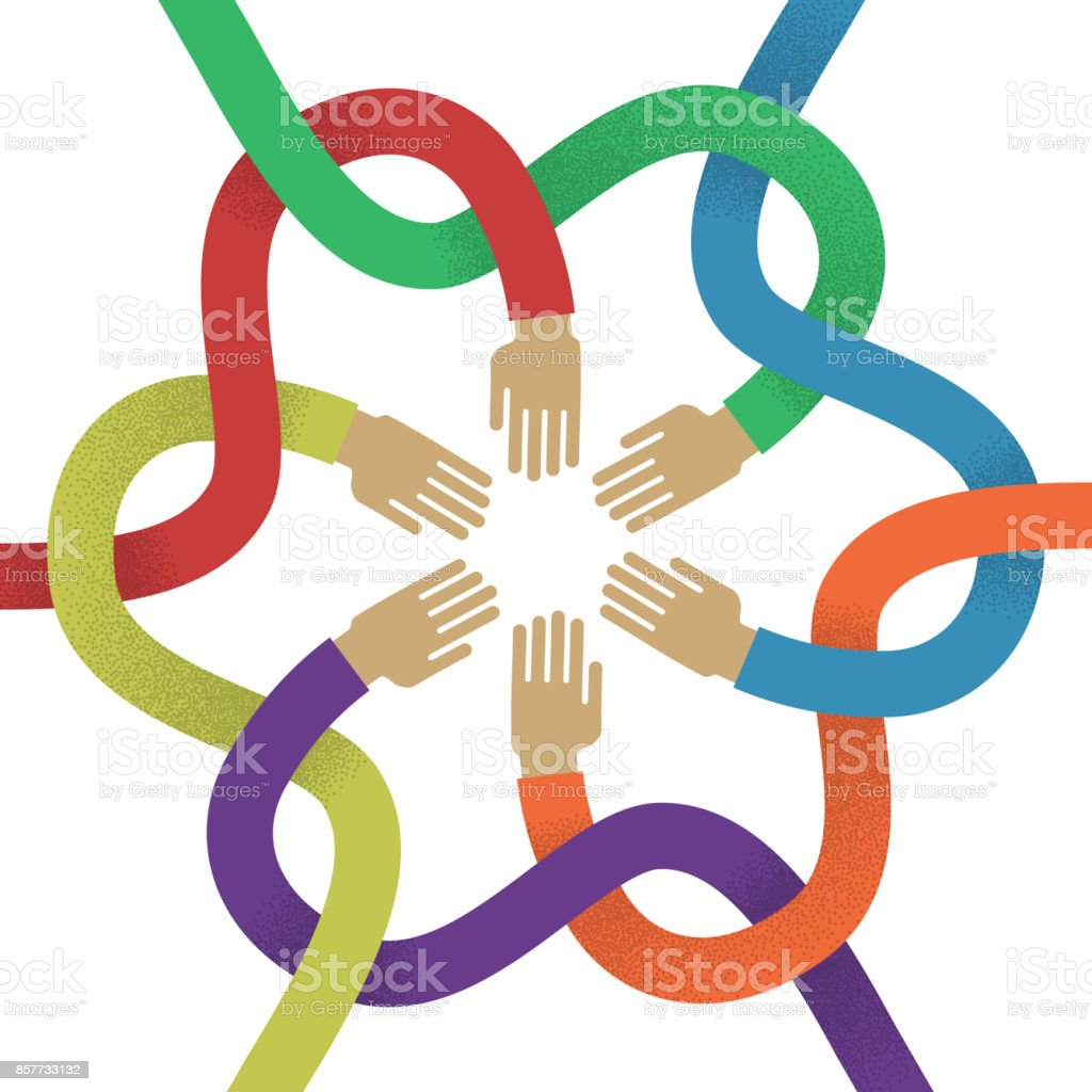 Association several intertwined multicolored hands flat style vector art illustration