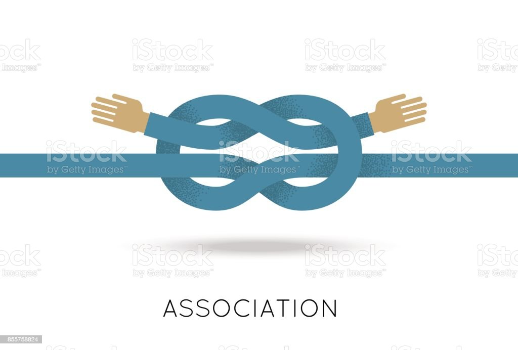 Association two hands sea knot flat style vector art illustration
