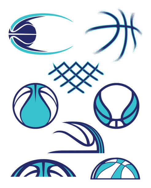 Assorted Abstract Basketball Graphics vector art illustration