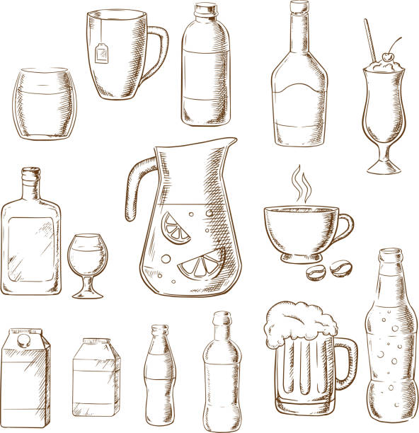 assorted alcohol beverages, juice and drinks - alcohol drink drawings stock illustrations