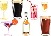 Seven isolated illustrations of various types of alcoholic drink. There are; White wine, Pint of stout, Pint of beer, Cocktail, Bottle of lager beer, Shot and a pink non specific drink.
