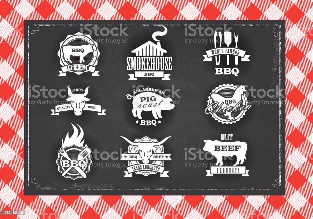 Assorted barbecue, beef, chicken and pork, labels on chalkboard background vector art illustration