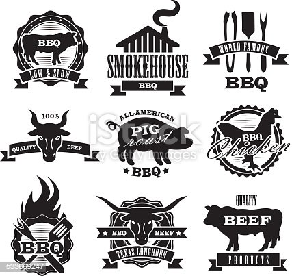 Assorted barbecue, beef, chicke and pork, labels on white background. Includes Steer, smokehouse, bbq utensils,longhorn steer, chicken and bbq flames. On a white background, See my portfolio for similars.