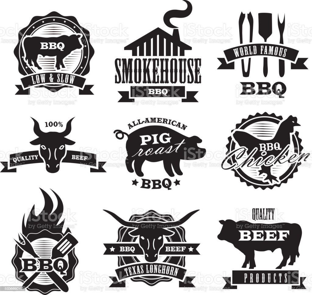 Assorted barbecue, beef, chicken and pork, labels on white background vector art illustration