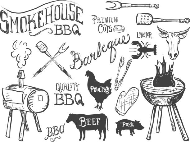 Assorted barbecue, beef, chicken and pork, labels on white Vector Illustration of Assorted barbecue, beef, chicken and pork, labels on textured background. Includes text, Steer, smokehouse, bbq utensils, longhorn steer, chicken and bbq flames.  See my portfolio for similars. Use for advertising, signage, billboards, restaurant.  Meat variety, mouth watering, tasty, Texas longhorn, delicious and succulent. All American, home grown. southern usa illustrations stock illustrations