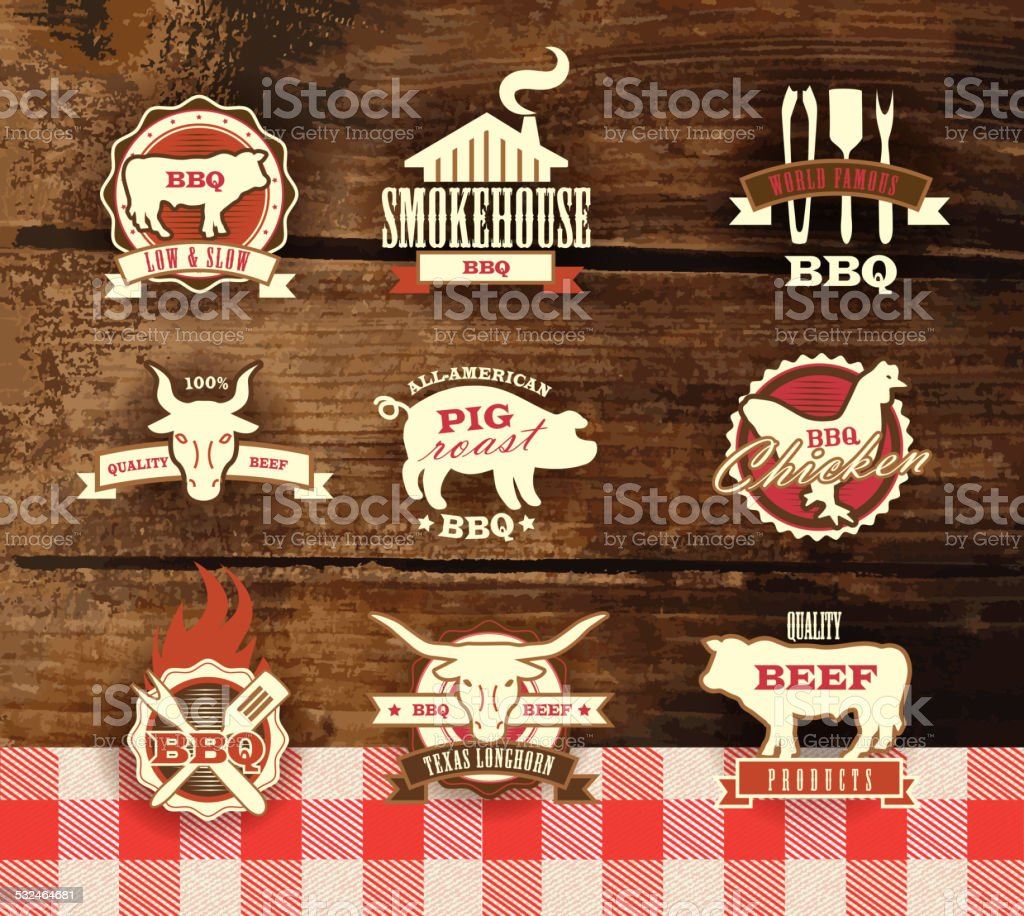 Assorted barbecue, beef, chicken and pork, labels on woodgrain background vector art illustration